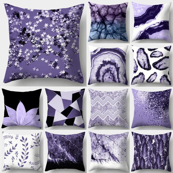 Фиолетовый Геометрическая Декоративные подушки крышки подушки наволочки полиэстер 45 * 45 Throw Подушки Home Decor Pillowcover 40846