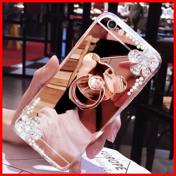 luxury diamond ring Holder mirror cases For iphone xs max xr x 6 7 8 6s plus phone case Flowers With chain Soft Silicone cover