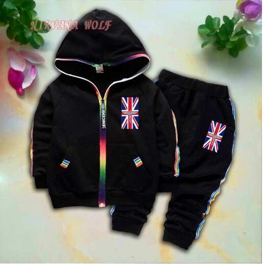 BOY National Flag Kids Cardigan Coats And Pants 2Pcs/sets 1-4T Children Sports Sets Rainbow Zipper Long Sleeve Colorful Striped Summer Suit