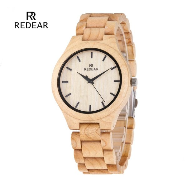 Dropshipping Fashion 45mm Dial Maple Ladies Wooden Watch Men's and Women's Simple wood Strap Quartz Wooden Watch reloj mujer