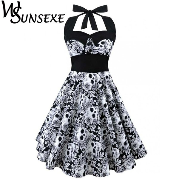 best selling Wsunsexe Retro Vintage Style Sleeveless 3d Skull Floral Printed 2017 Summer Women Dress Halter Plus Size Party Sexy Casual Dress J190529