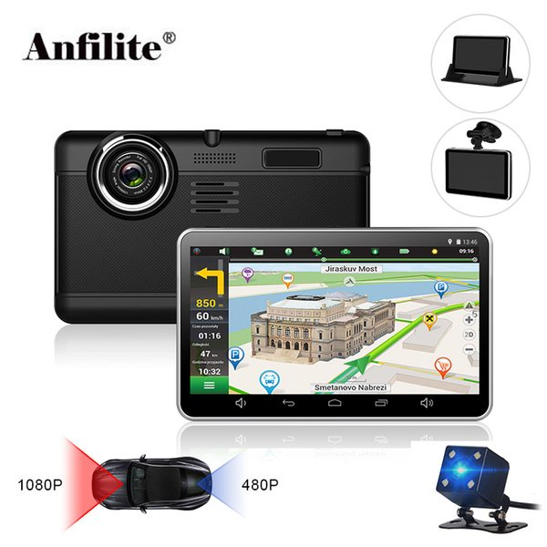 Anfilite H55 7 pulgadas capacitivo Android coche GPS Navigator Quad Core 16GB DVR para el tablero de la cámara de doble cámara 1080P mapas libres de registro