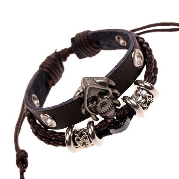 Trendy Retro Punk Lederarmbänder Einstellbare Armreif für Männer Vintage Schädel Charms Breite Wrap Armband Böhmischen Schmuck, TCN268