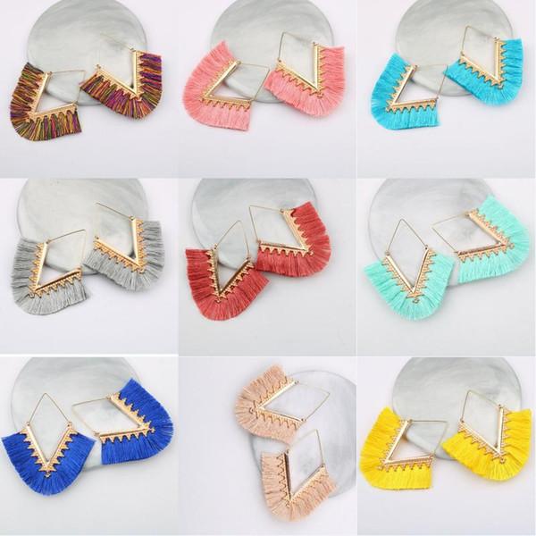 2019 18 Stile Quaste Anweisung Ohrringe böhmischen Fransen baumeln Ohrringe V geformt handgefertigte geometrische Tropfen Schmuck für Frauen Mädchen Geschenk