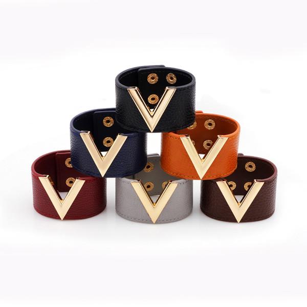 Nouvelle Mode Bijoux Europe et Amérique Large Bracelet En Cuir Baita Big OL V Mot Bracelet Pour Les Femmes