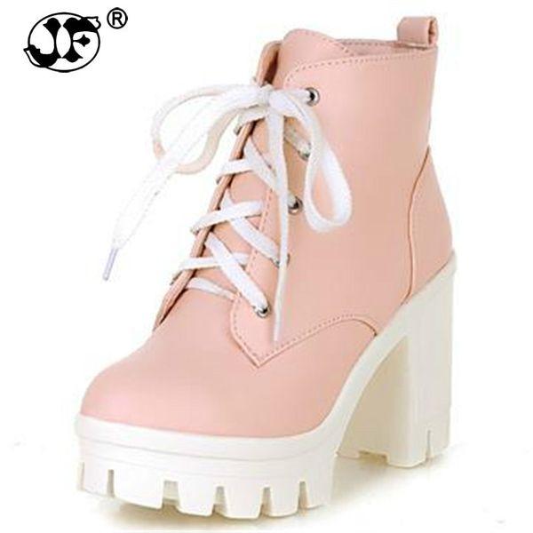 2018 New Fashion sexy women's ankle boots lace up high heels Punk platform Women autumn winter snow boots ladies shoes uik89