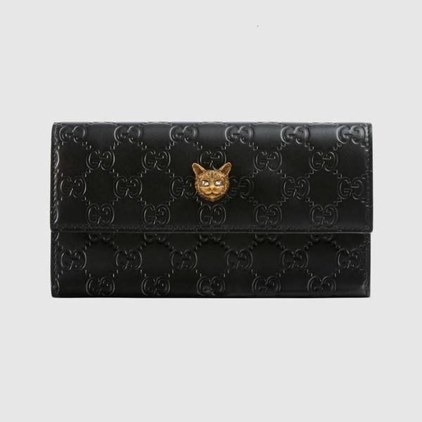 2019 moda trendi yeni cüzdan uzun cüzdan Kedi kafa deseni uzun cüzdan 548.055 0G6FT 1081 siyah