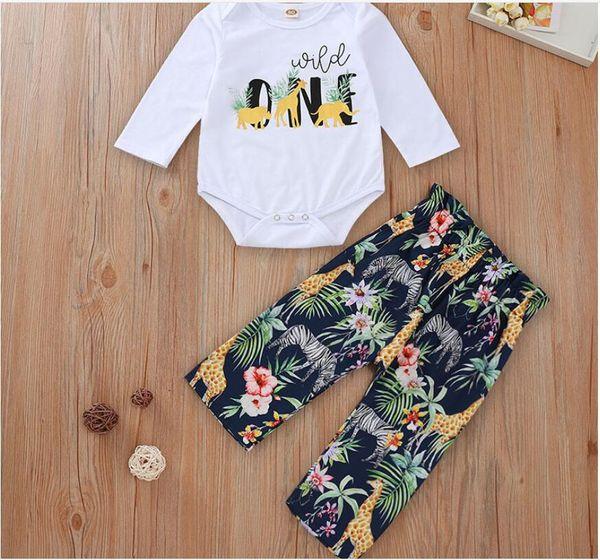 Chica de manga larga blanca y mameluco de la impresión floral de las bragas del bebé Set O-cuello del color sólido del mono y la flor de la impresión pantalones de traje ropa de los niños