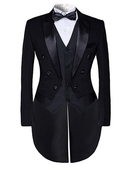 Mens Steampunk Vintage Suit Tailcoat Black Jacket Evening Tails Fashion 3 Piece Tuxedo Tails Includes Tailcoat Vest Trouser