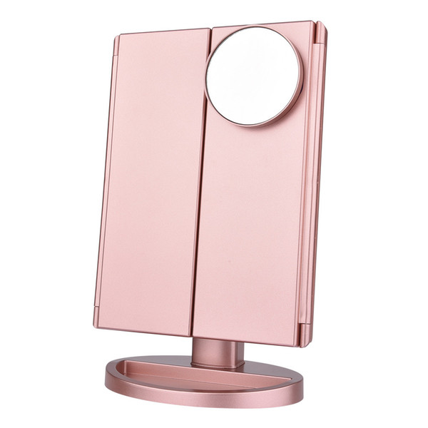 best selling LED Touch Screen 22 Light Makeup Mirror Table Desktop Makeup 1X 2X 3X 10X Magnifying Mirrors Vanity 3 Folding Adjustable Mirror