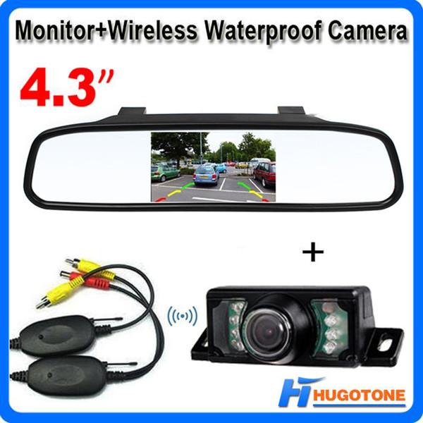 top popular 4.3 inch TFT Car Mirror Monitor Auto Parking Assitance Rear View Mirror Night Vision Wireless Waterproof Reversing Camera 2021