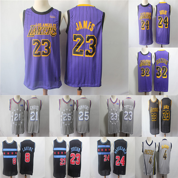 the latest b54b6 6a77e 2019 Lakers LeBron 23 James City Edition Jersey 76ers 21 Embiid Butler 25  Simmons 4 Oladipo 24 Kobe Bulls Markkanen 8 Lavine Basketball Jerseys From  ...