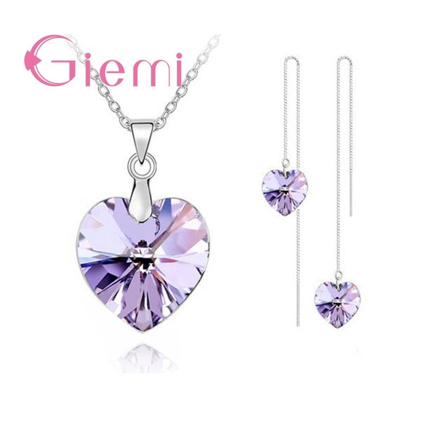 752c6e685 Authentic 925 Sterling Silver Jewelry Sets for Women Girls Gifts Austrian  Crystal Heart Pendant Necklace Thread