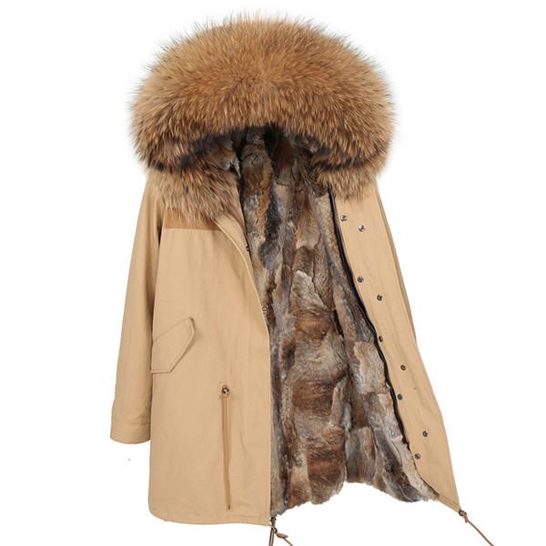 2019 Invierno New Real chaqueta de la piel de las mujeres Rex Rabbit Fur Coat caliente delgada larga de la mujer Parka Coat engrosamiento de los hombres para el invierno Parka SH190922