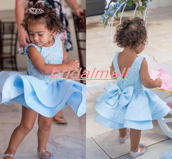 Açık Mavi Toddler Elbise Düğün için O Boyun Papyon Ruffles Kabarık Küçük Florwer Kızlar Örgün Elbise Çocuklar Pageant Kısa Doğum Günü Partisi törenlerinde
