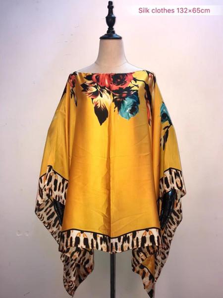 2019 Mode d'été en soie imprimée haut taille 132cm largeur x65cm longueur top vêtements africains pour femmes