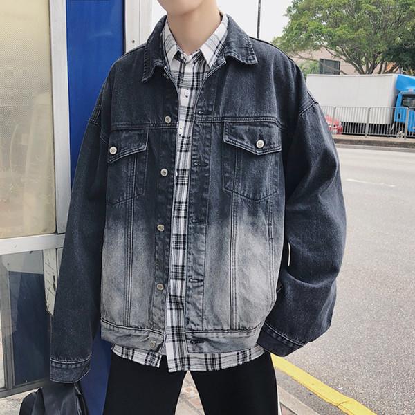 EWQ Fashion Men's Gradient Color Denim Jackets 2019 Spring Autumn Casual Jeans Jacket For Male Blue And Black Size M-XXL HD524
