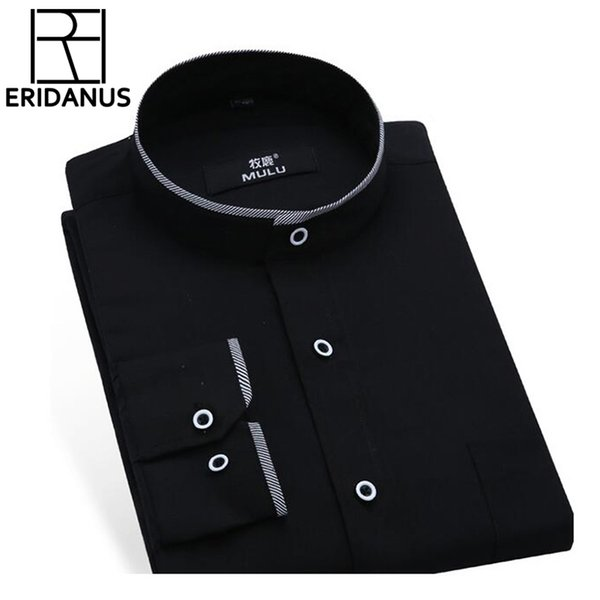 Mandarin Collar Men Shirt Fashion Brand Shirts Male Long-sleeved Camisa Masculina Social Casual Slim Fit Chemise Homme X171 C19041702
