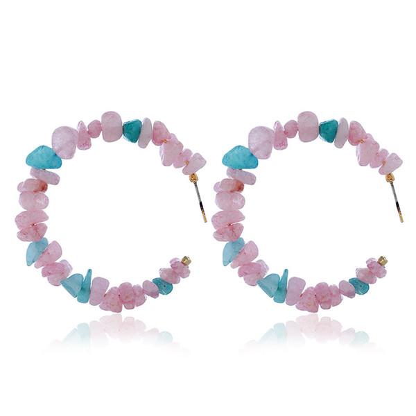 Orecchini di ghiaia di perle Orecchini di goccia rotondi di pietra rossa corallo di modo grandi per le donne Orecchini di dichiarazione della geometria della Boemia