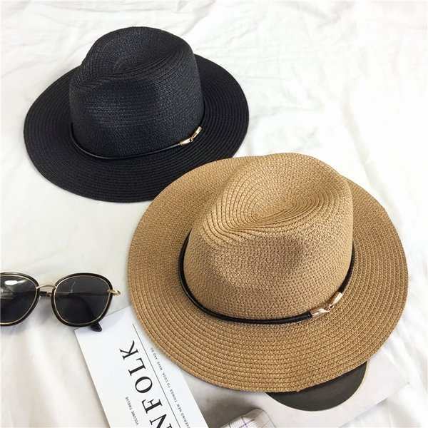 Metal button Simple wild summer travel sun hat Woman beach sunscreen big hooded jazz hat C18122501
