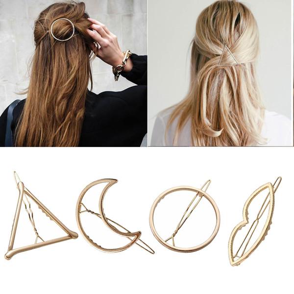 Fashion Woman Hair Accessories Triangle Hair Clip Pin Metal Geometric Alloy Hairband Moon Circle Hairgrip Barrette Girls Holder C19021601