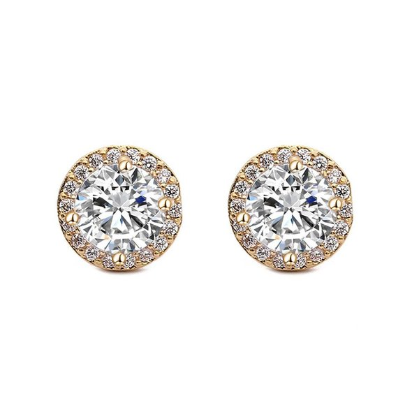 Stylish luxury micro-set zircon Round Stud earrings Gold and silver plated Copper earrings Beautiful Exquisite hypoallergenic earrings