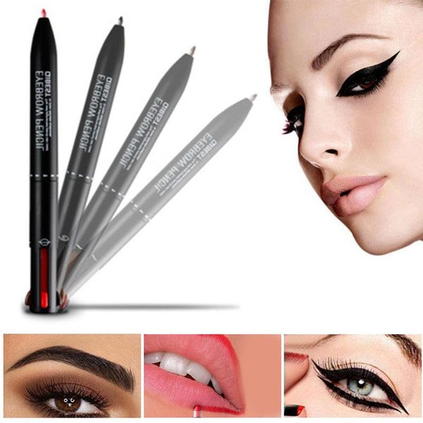 Professional Cosmetics Four-in-one Multifunction sobrancelha automática Lápis Delineador Lip Liner Waterproof Não Smudge