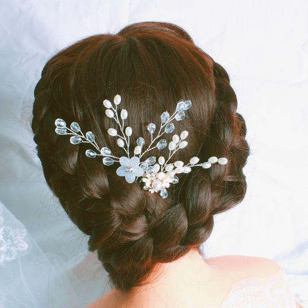 Women Pearl Hair Combs Wedding Hair Accessories Pin Rhinestone Tiara Bridal Clips Crystal Crown Bride Jewelry Gifts