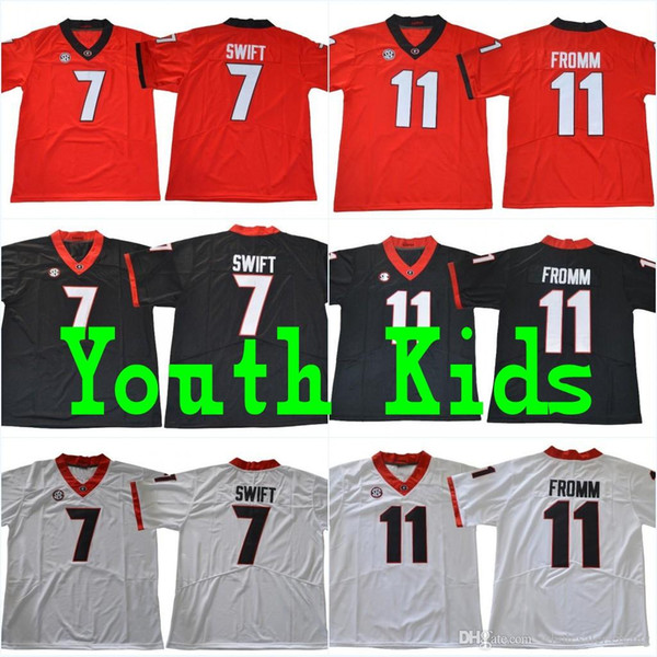 best service 90fa6 b670c 2018 Youth UGA #7 D'Andre Swift Kids #11 Jake Fromm #1 Sony Michel #27 Nick  Chubb #10 Eason UGA Bulldogs Stitched College Football Jerseys From ...