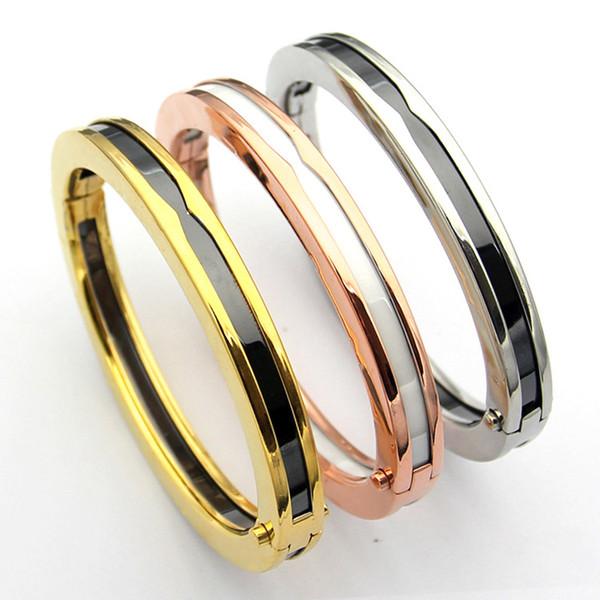 Ювелирные изделия из нержавеющей стали 18K розовое золото черно-белый керамический браслет браслеты манжеты открыть серебряные ювелирные изделия любовь браслеты Женские подарки