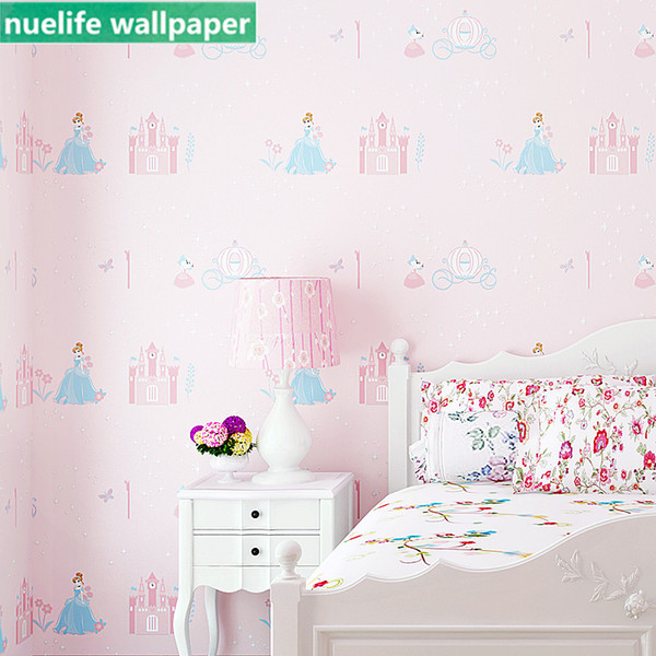 Girl cute cartoon pink princess castle room bedroom living room study TV background wallpaper 3d stereo non-woven wallpaper