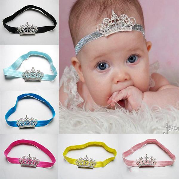 12 colori bella principessa principessa corona fascia per capelli accessori per capelli per bambina diadema fasce per capelli elastici neonato testa lucida avvolgere la fascia per capelli