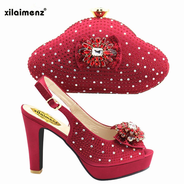 2019 Wine Color African Women Shoes And Bag Set With Rhinestones Pumps Italian Shoes With Matching Bag For Evening Party Wedding #37546