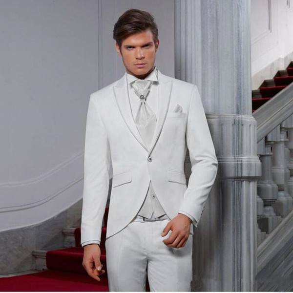 New White Wedding Men Suits Groom Wear Tuxedos Slim Fit 2 Pieces (Jacket+Pants) Peaded Lapel Prom Suits Blazer Costume Homme 42