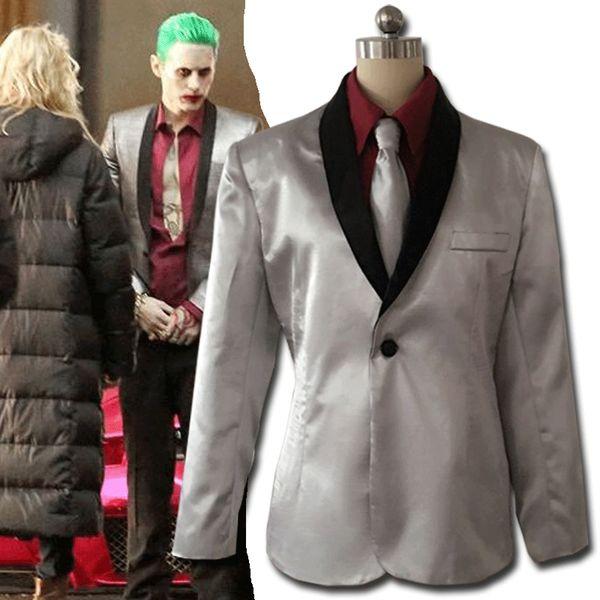 Men Suicide Squad The Joker Costume Cosplay Suit Jacket Coat Psychos Killers lot with Full Set Jacket+Pants+Shirts+Tie