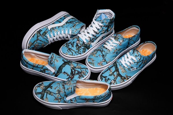 New Slip-On Gogh Museum x Sunflower Old Skool Mens Womens Casual Shoes Flowers Canvas Skateboard Sport Sneakers AOOX