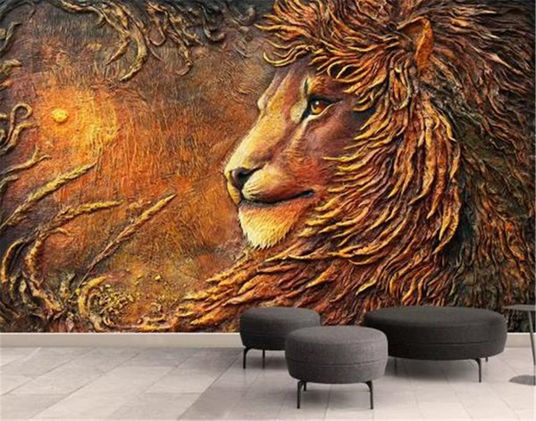 Hd Wallpapers Promotion Embossed Golden Mighty Lion 3d Animal Wallpaper Decoration Interior Exquisite Practical Good Wallpapers For Desktop Wallpapers