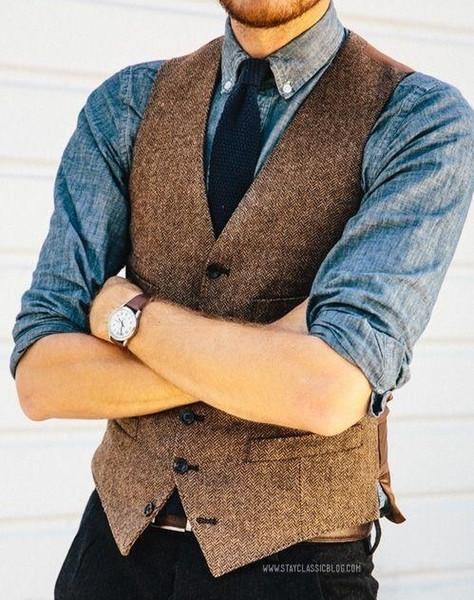 Brown Wool Herringbone Tweed Vests Slim Mens Suit Vests Custom Made Sleeveless Suit Jacket Mens Dress Wedding Waistcoat Y190420
