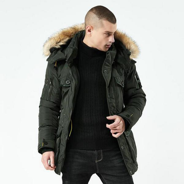 Chaqueta de invierno de alta calidad para hombre, collar de pie de moda agradable, chaqueta parka para hombre, chaquetas gruesas sólidas y abrigo largo para hombre, parkas 2xl
