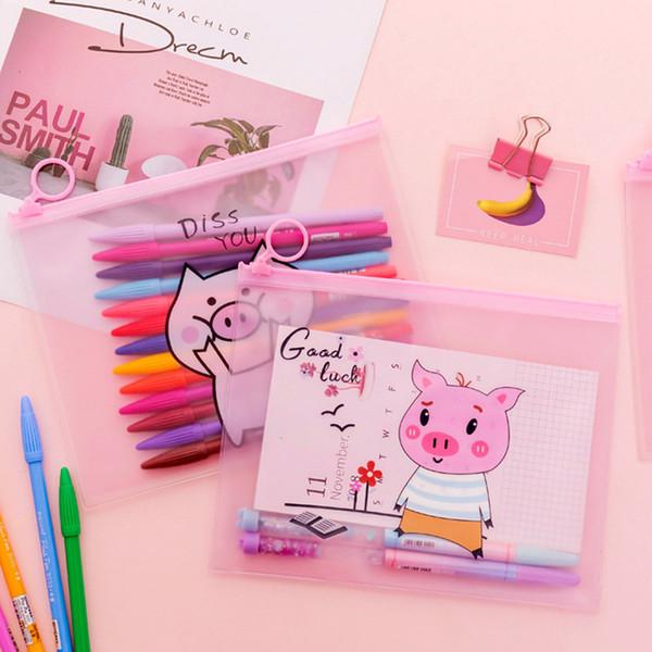 Cartoon Pig Unicorn Pencil Case Cactus Transparent pen pouch Kawaii stationery Gift Big capacity Storage bag school supplies