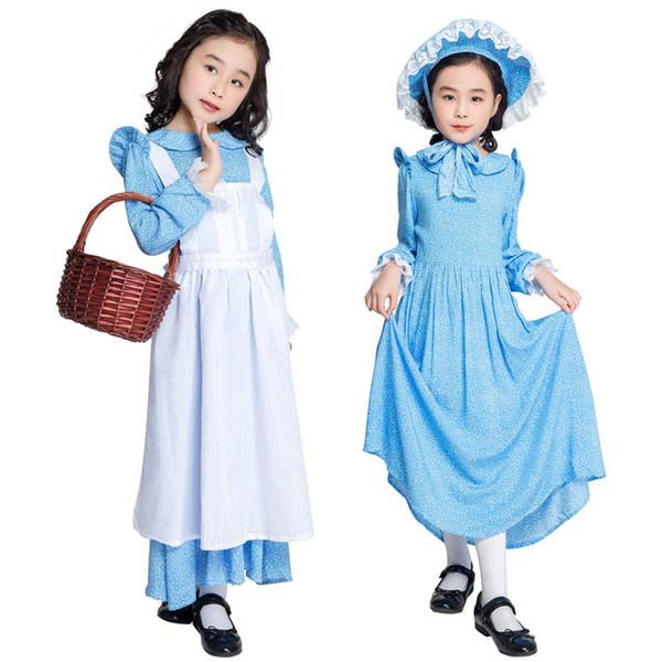Sömürge dönemi Çocuk Hizmetçi Cosplay Fantezi Elbise Cosplay Kıyafet Karnaval Kostüm SM2020