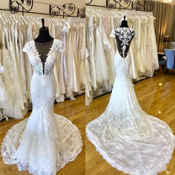Lace Mermaid Wedding Dresses Real Picture 2019 Plunging V Neck See Through Backless Bridal Gowns with Court Train Vestidos De Mariee