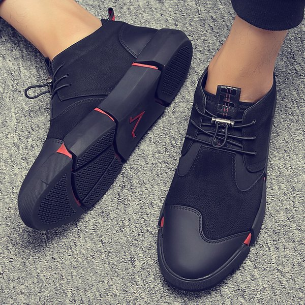 e2b03c905ab02 High Quality All Black Men's Leather Casual Shoes Fashion Breathable  Sneakers Fashion Flats LG-11 Driving Shoes Men