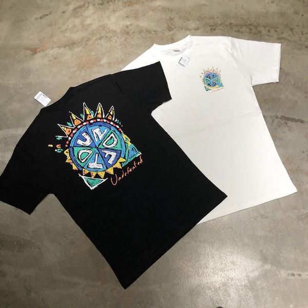 Unbeaten five-bar retro sun flower UND gear graffiti street tide brand short-sleeved cotton straight summer couple t-shirt