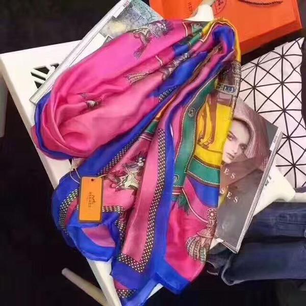 sciarpa in seta di marca vendita calda per le donne 2019 della molla del progettista Cavallo Sciarpe Wrap con tag 180x90cm Scialli