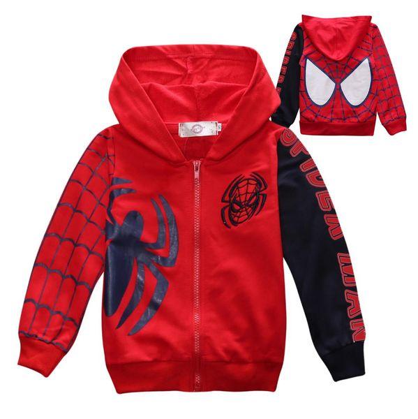 2019 children spring and autumn sports leisure hooded jacket cartoon spider children's sweater 2-8 years old children's clothing