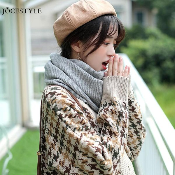 Men Women Circle Wool Scarf Warm Autumn Winter Coldproof Collar Solid Color Knitted Neck Scarf Shawl Wraps