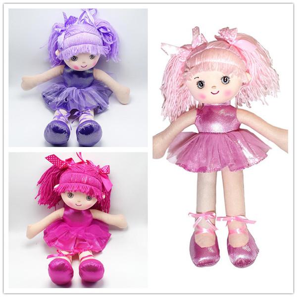3 colors cute Girls rag dolls 40cm dancing girl style stuffed soft plush figures dolls kids gifts B11