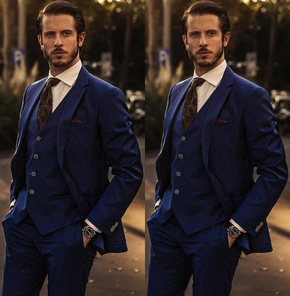 Men's Suits Navy Slim Fit Tuxedo For Groom One Button Men Suits For Wedding Male Formal Prom Cheap Wear Three Pieces (Jacket+Pants+Vest)