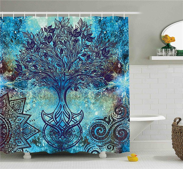 Grunge Style Tree Pattern with Ethnic Mandala and Spiral Shapes Blurry Artwork, Fabric Bathroom Decor Set with Hooks, 84 Inches Extra Long